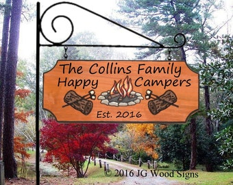 Campsite Name Sign Campfire Log Marshmallow Camping Sign - Custom RV Sign - with Sign Holder Personalized RV Sign JGWoodSigns Etsy Collins