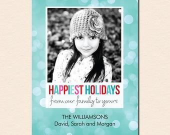 Happiest Holidays Bokeh - Holiday Photo Card (Digital File)