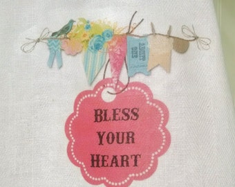 Bless Your Heart Tea Towel, Southern Kitchen Towel
