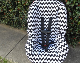 Chevron (black/ white) toddler car seat cover- car seat not included