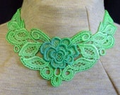 Applique necklace with center rose - hand painted - one-of-a-kind