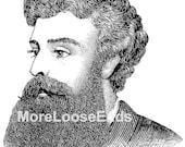 BEARD clip art vintage man with beard . retro beard . digital Image file . instant download printable beard clip art . label art bearded man