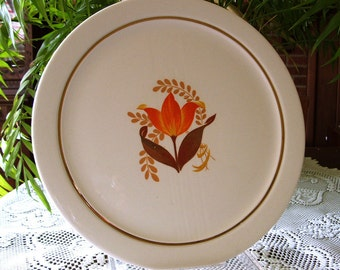 1950s Cake Plate, Harker Bakerite, Modern Tulip, platter charger lg round, vintage American dinnerware, casual dining