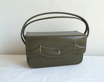 1950 1960s Mid Century Vinyl Box Handbag Purse Olive Green scalloped molding and Stitching