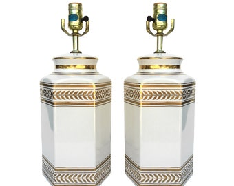 Regency White Ceramic Gold Wheat Pair of Table Lamps