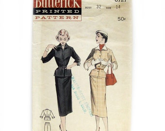 1950s Vintage Sewing Pattern / Misses Suit with Detachable Collar & Cuffs / Pencil Skirt / Belted Jacket / Butterick 6727 / Size 14 Bust 32