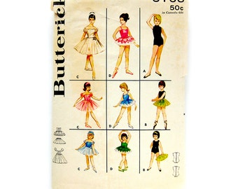 Butterick Pattern 3168 Vintage 60's Girls Ballet Costumes - Dance Leotards Ballerina Tap Nutcracker TuTu Leotard / Size 8