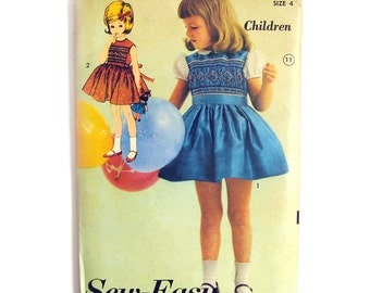 Girls' Dress with Smocked Bodice Vintage Sewing Pattern / Full Skirt Party Dress / Vintage Sewing Pattern / Advance 3137 / Size 4 UNCUT