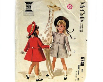 1960s Vintage Sewing Pattern - Girls Coat with Inset Waistband - McCall's 6746 / Size 4