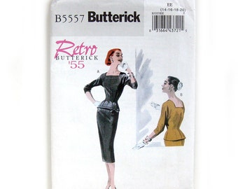 Retro Sewing Pattern Misses' Top and Slim Skirt / Wiggle Dress / Sizes 14-20 / Butterick B5557 / UNCUT FF