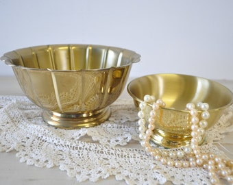 two solid brass bowls / planters / vintage 1960s brass bowls