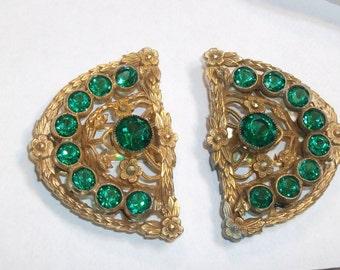 Antique Green Glass-Beveled- Open Back Floral Fur/Hat/Dress CLIPS