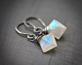 Polygon - Wire Wrapped Geometric Rainbow Moonstone Sterling Silver Earrings