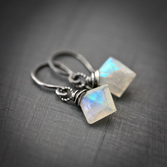 SALE - Polygon - Wire Wrapped Geometric Rainbow Moonstone Sterling Silver Earrings