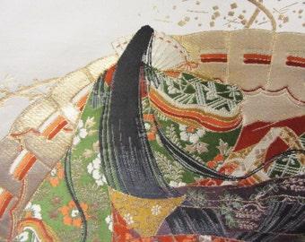 Vintage Japanese Kimono Obi Silk Piece Beautiful Noble Heian Lady Princess