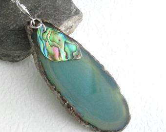 Abalone & Agate Slice Pendant, Green, Natural Paua Shell Jewelry