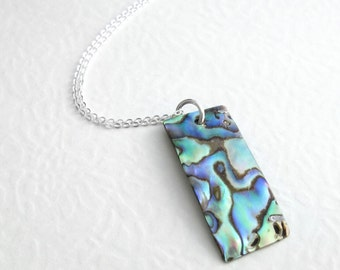 Natural Paua Necklace, Green Rainbow Abalone Shell Jewelry