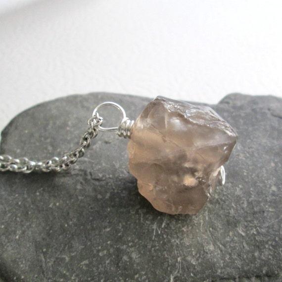 Smoky Quartz Necklace Rough Gemstone Pendant By Cindylouwho2