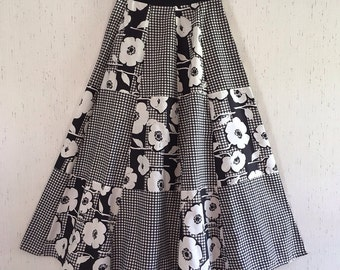 1970's Young Traditions Op-Art Wrap Style Maxi Skirt - Patchwork