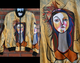 PICASSO MONA LISA: Vintage Sexy Abstract Art Satin Bomber Jacket / Windbreaker Coat // Casual Corner, Knit Ribbed Cuffs Hem; Muted Metallic