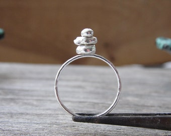 Cairn Ring Sterling Silver Rock Stack ring