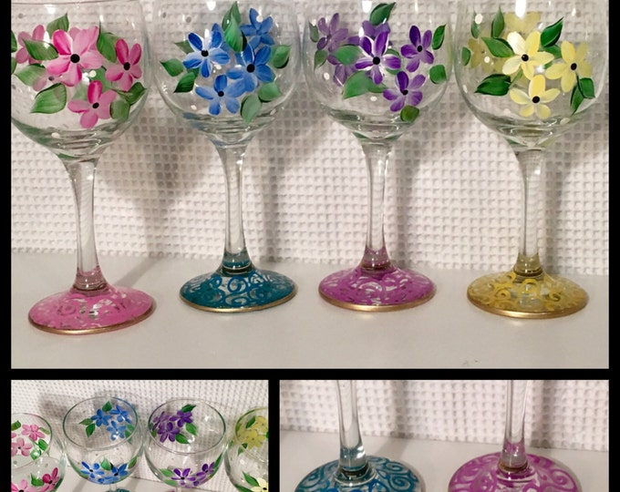 Painted Wine Glass // Whimsical Painted Wine Glass // Daisy Wine Glass