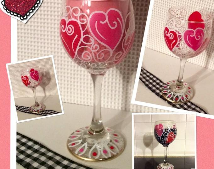 Valentine Wine Glass // Valentine Martini Glass // Valentine Glassware
