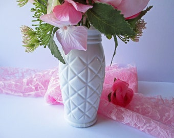 Vintage Milk Glass Diamond Vase
