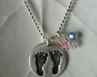 Baby Footprint Necklace In Fine Silver With Swarovski Dangles