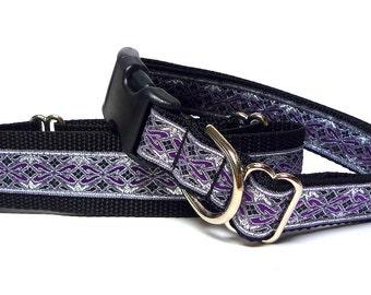 "Purple, silver metallic OLD ENGLISH martingale dog collar 1.5"" wide, Safety Collar, Greyhound Collar, Sighthound Collar, Adjustable"