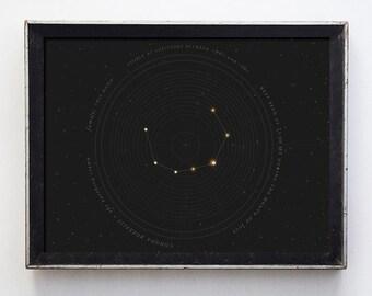 Corona Borealis Constellation Fine Art Print, Astronomy Print, Galaxy Print, Star Chart Print, Celestial Print , Wall Art, Geekery, Stars
