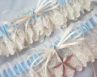 Beach Wedding Garter Starfish Garter Set Ivory Lace Garter Set Light Blue Pearl Wedding Bridal