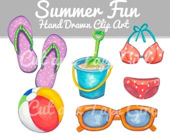 Summer Clip Art - Flip Flops, Beach Clipart, Sunglasses Illustration, Digital Clip Art, Beach Ball, Craft Supplies, Hand Drawn