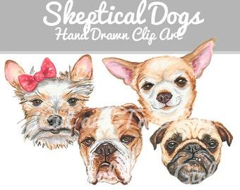 Dog Clip Art - Dog Clipart, Marker Art, Digital Download, Yorkie Dog, Bulldog, Chihuahua, Pug