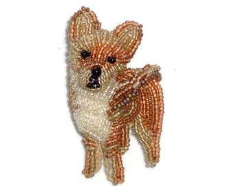 Tiny Beaded CHIHUAHUA Keepsake Dog Pin Pendant Art Jewelry / Ready to Ship/ Free US Shipping