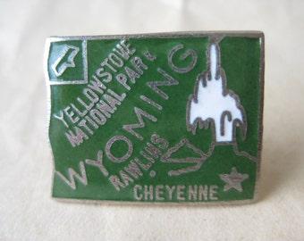 Wyoming Lapel Pin Green Silver Tie Tack Vintage Brooch Enamel