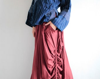Helen Skirt.. Red No.3 mix silk...(avalible All sizes/ all colors)