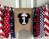Nautical Mickey Mouse High Chair Banner ~Birthday Banner ~burlap banner ~high chair rag banner ~cake smash ~photo prop ~rag tie banner ~one