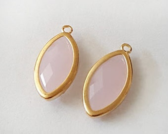22x11mm Faceted Marquise Pink Rose Quartz Gold plated Glass teardrop - 2pcs