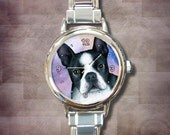 Italian Charm Watch Women Lady Round or Rectangle Watch Dog 128 Boston Terrier art painting L.Dumas