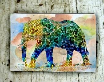 Cosmetic Bag Pouch Accessory for Purse Design 37 Mosaic Elephant digital art by Lucie Dumas