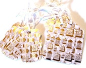 15 Gift Tags, Gold and White Bird Cages, 2 Sizes, Hang Tags, Party Favor Tags