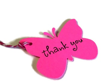19 Tags, Gift Tags, Thank You, Merchandise, Neon Pink, Butterflies, Party Favor Tags, Hang Tags