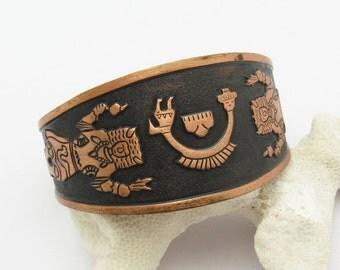 Wide Copper Cuff Native American Design Vintage Bracelet