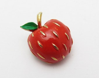 Vintage Apple Brooch Red Enamel Napier Jewelry P7272
