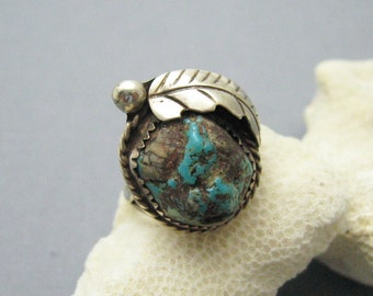 Vintage Sterling Ring Nugget Turquoise Jewelry Southwestern R6994