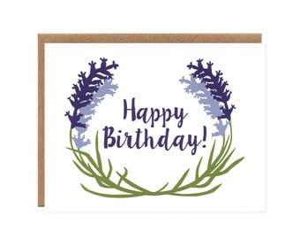 Lavender Birthday Card -- Floral, Screenprinted Happy Birthday Card