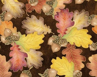 Harvest Bounty 100% Cotton Fabric sold by the YARD (36x44) leaves & acorns - smoke free - pet free - Thanksgiving Fall Harvest