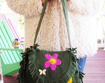 Shoulder Bag  Fleece Whimsy  -  A Heavily Fringed Shoulder Bag Made From Fleece Fabric