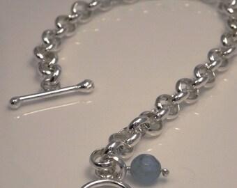 Sterling Silver rolo bracelet/charm bracelet/ handmade link bracelet
